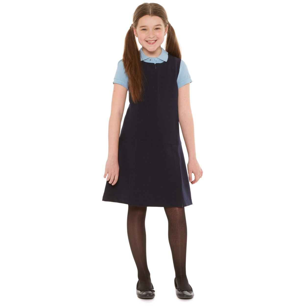 Girls Premium Quality Box Pleat Zip Front Pinafore School Uniform Dress UK Made