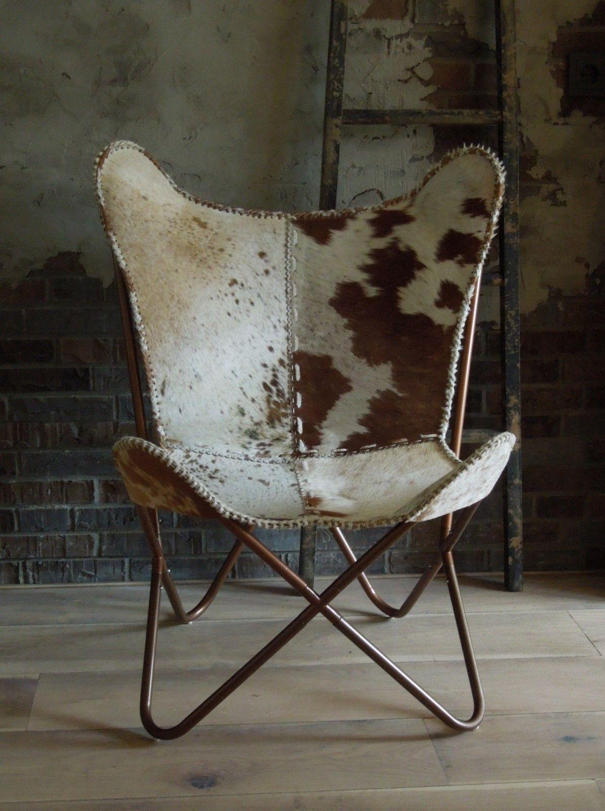 Vlinderstoel met koeienhuid | woonkamer | Pinterest | Möbel