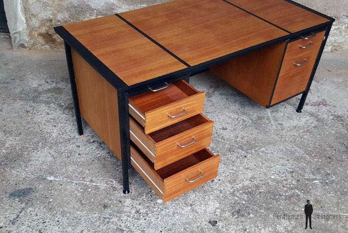 Grand bureau vintage avec tiroirs en bois teck