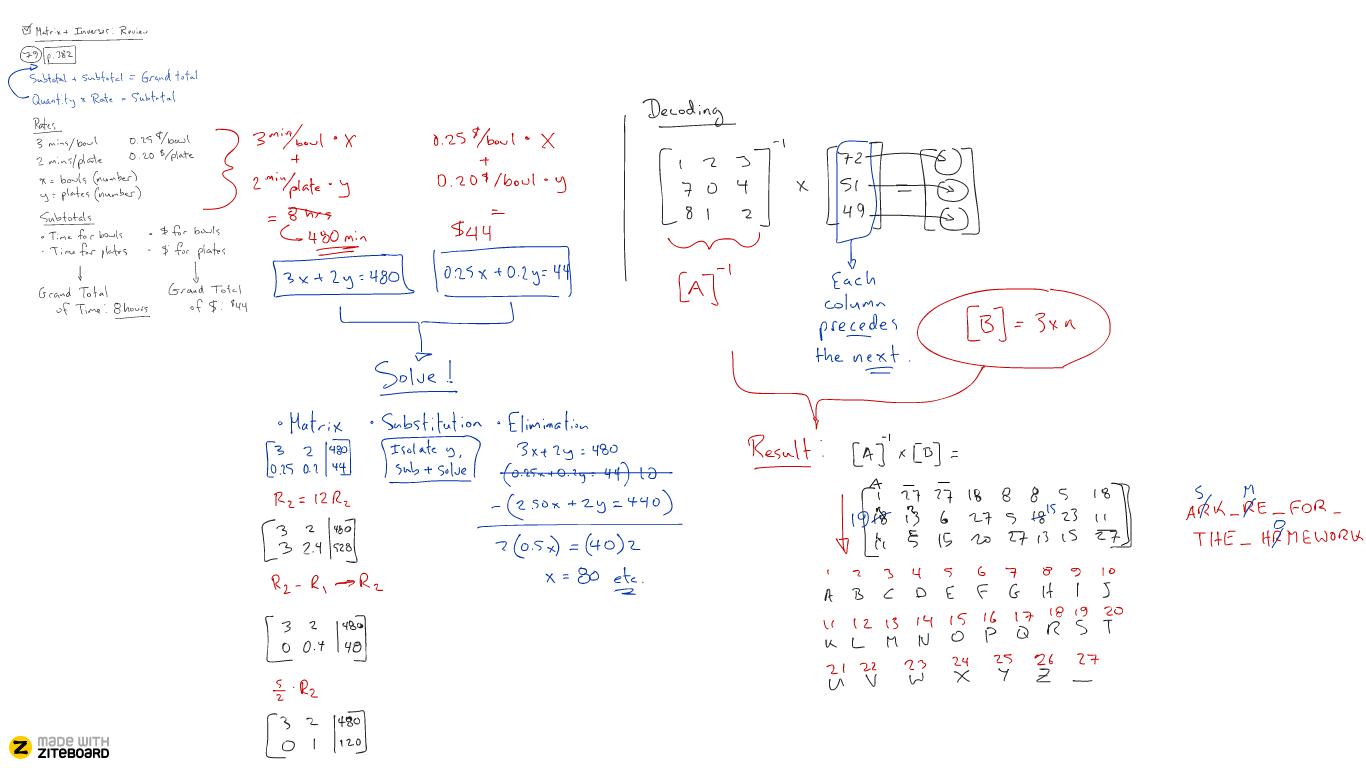 Matrix product on whiteboard a