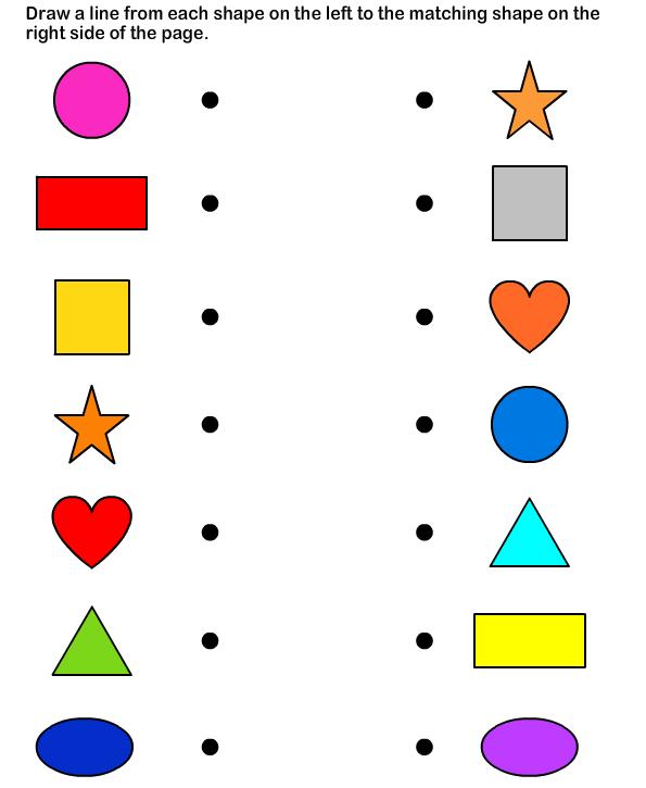 Shapes - math Worksheets - preschool Worksheets   Lembar ...