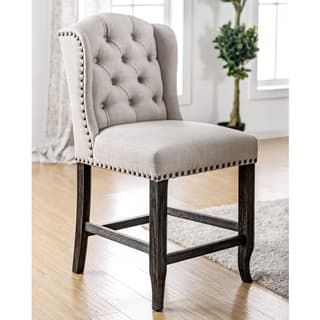 Furniture Of America Telara Contemporary Tufted Wingback 24 Inch Counter  Height Chair (Set Of