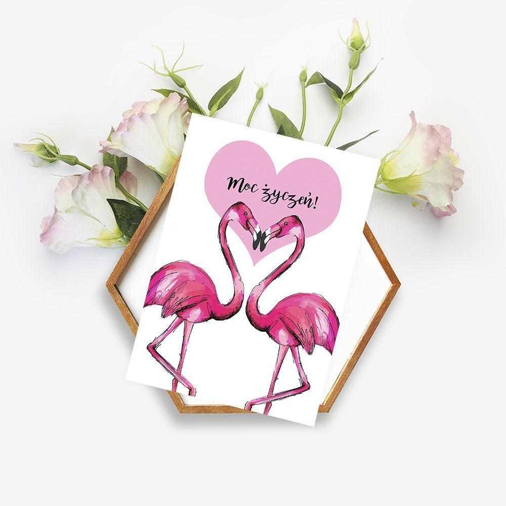 Kartka Okolicznosciowa Flamingi In 2020 Love Heart Flamingo Projects