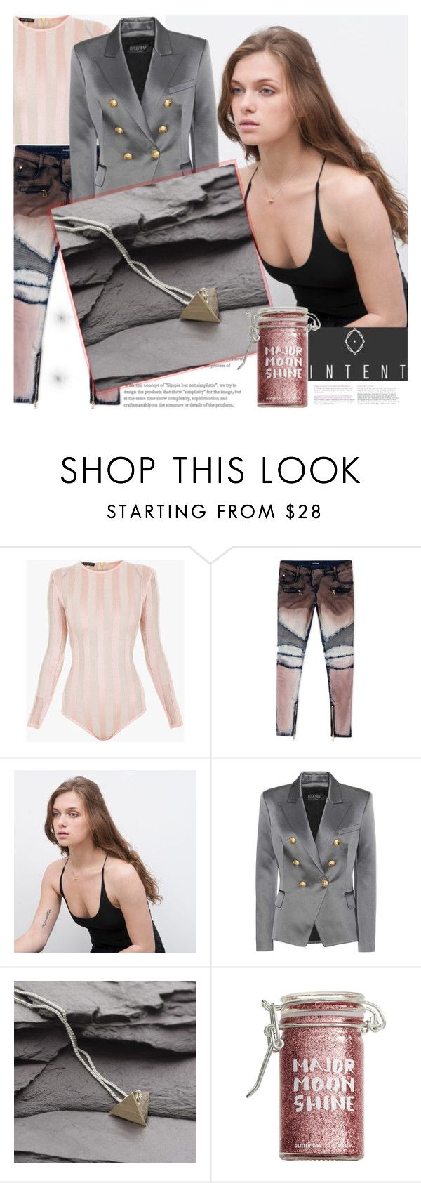"""""""INTENT.CO.UK"""" by gaby-mil ❤ liked on Polyvore featuring Balmain, Major Moonshine, Silver and intentjewellery"""
