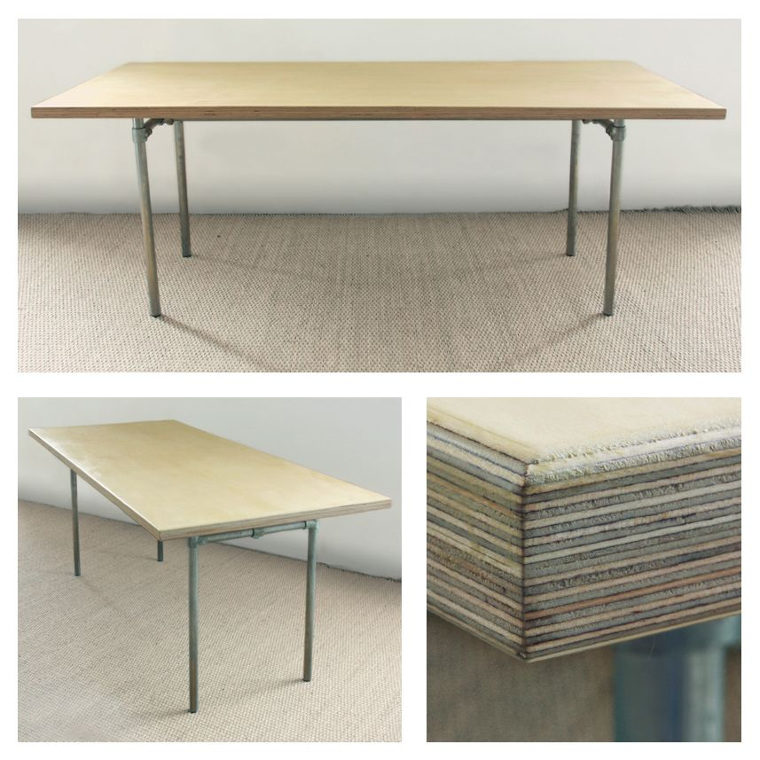 Birch Faced Plywood Table Top And Galvanised Steel Modular Legs Plywood Table Workspace Tables Cafe Furniture