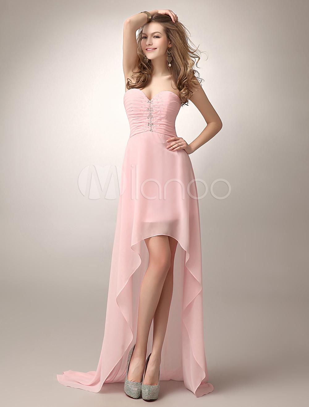 Robe demoiselle d\'honneur en chiffon rose avec perles | robe rose ...