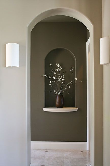 Neutral tones contemporary lighting art niche web decor for How to decorate an alcove in a wall