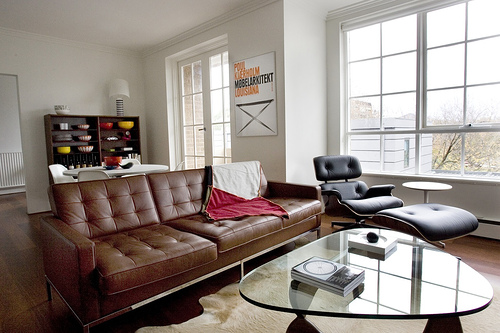 White Leather Sofa We could do a similar layout for the living room Eames chair next to the