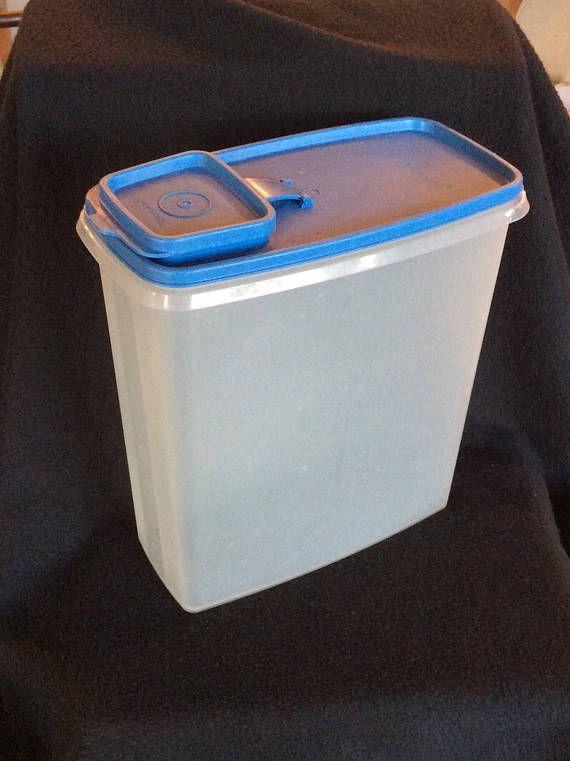 Vintage Tupperware Large Cereal Container Blue Tupperware Rangement Papier Administratif Rangement Papier Et Boite Tupperware
