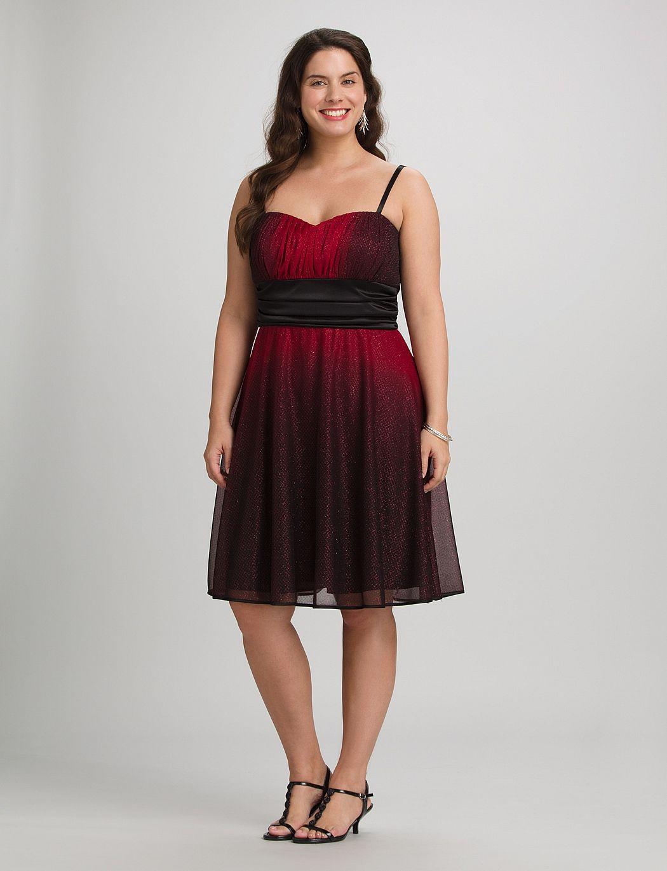 | Plus Size Glitter Ombre Dress | dressbarn