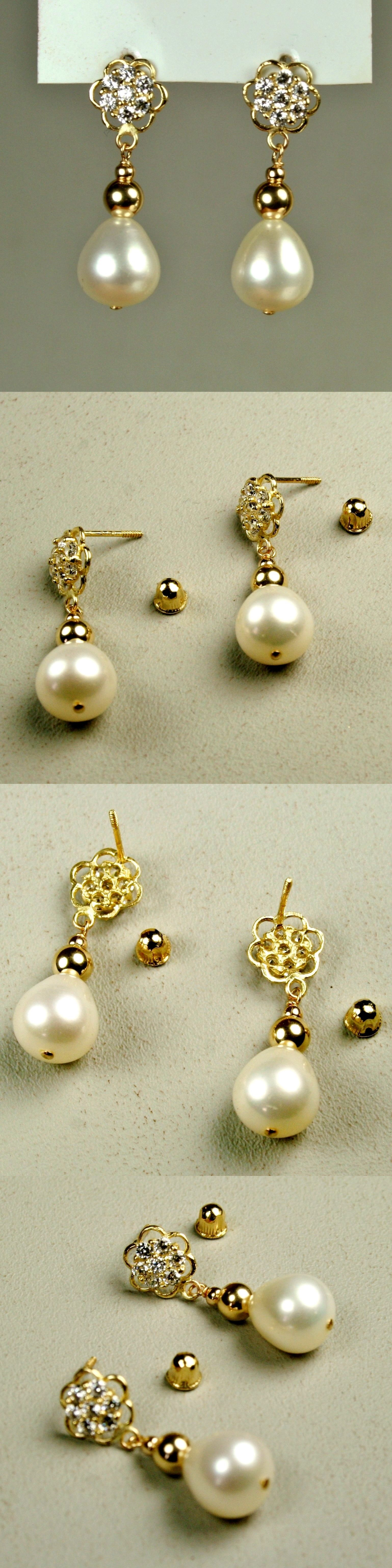 Gold High Quality10x9mm Natural Freshwater Pearl  Earrings Screw Back