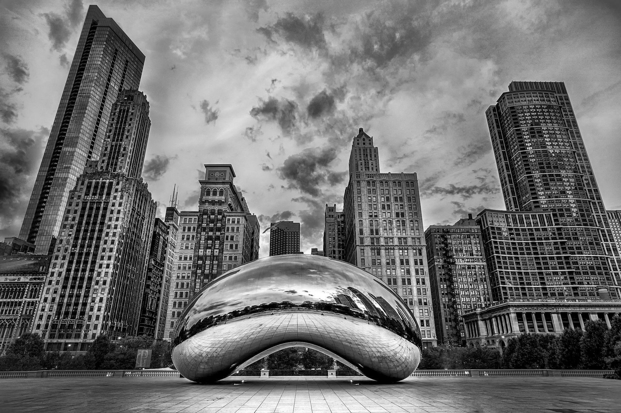 The Bean Black White Chicago Wallpaper Chicago Wall Art