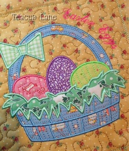 """Teacup Lane - Another Party with Patrick mug rug, """"Easter Eggs""""."""