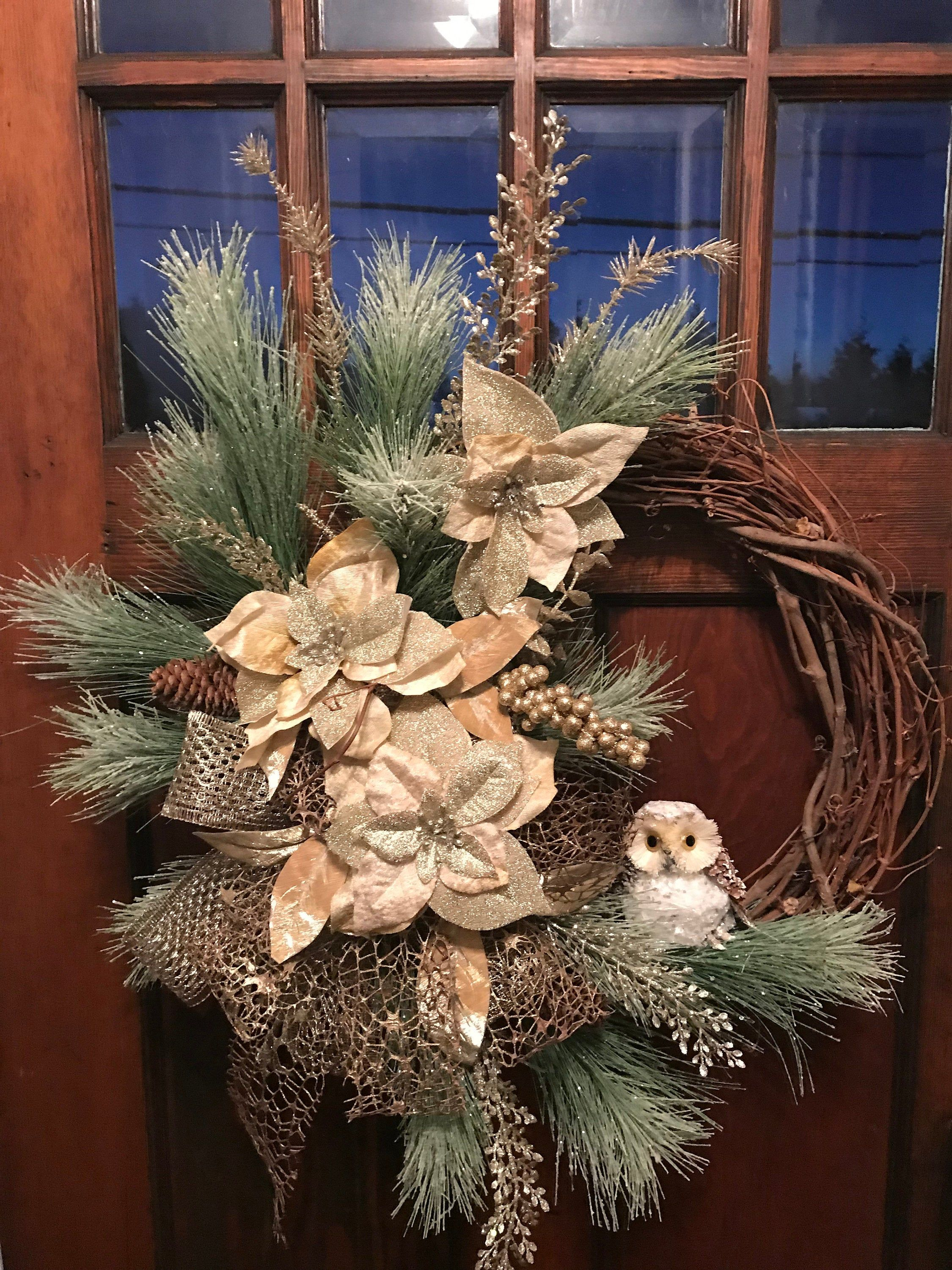 Beautifully elegant gold and pine winter grapevine wreath