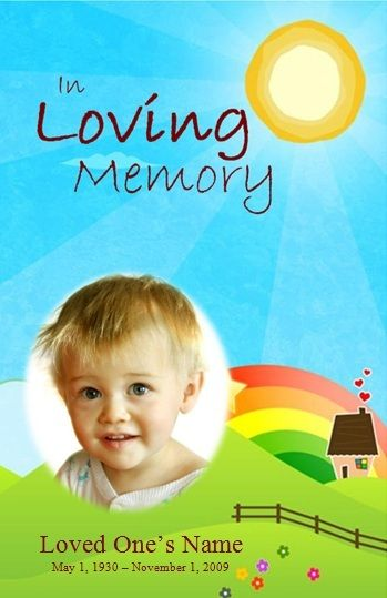 Boy Art Single Fold Memorial Program  Funeral Memorial Funeral And