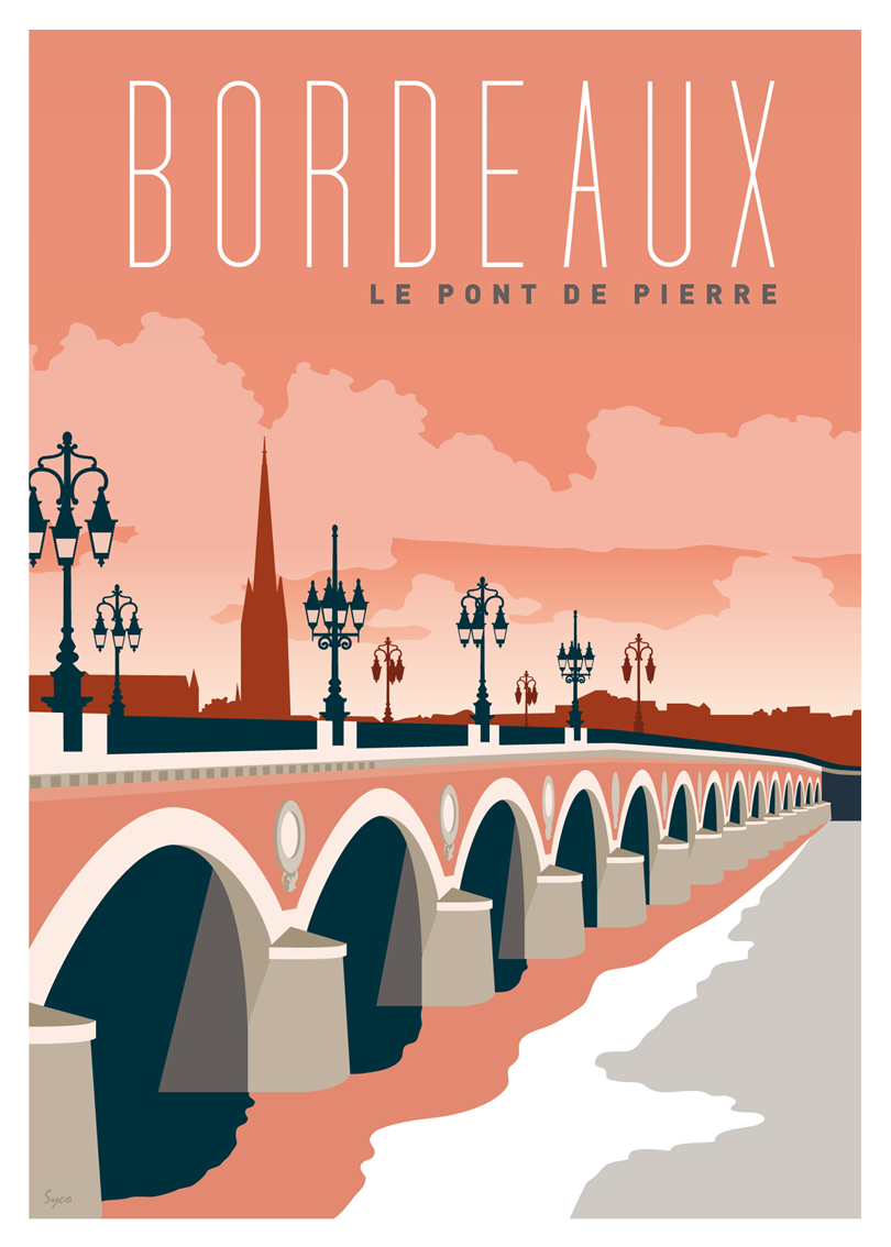 Tableau Affiche Bordeaux Le Pont De Pierre Lesaffichistes Graficos In