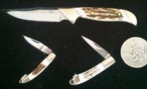 PUMA MINI KNIFE COLLECTORS SET  ONE FIXED BLADE TWO FOLDING KNIVES BONE HANDLES GREAT COLLECTORS SET