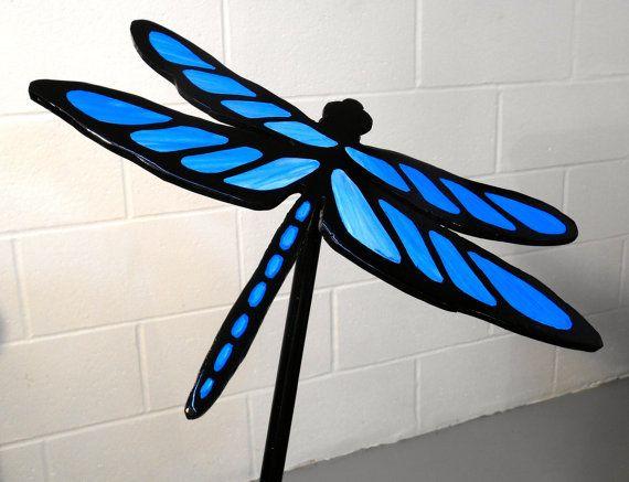 Metal Dragonfly Lawn And Garden Stake, Blue Dragonfly Garden Art, Lawn  Ornament, Lawn