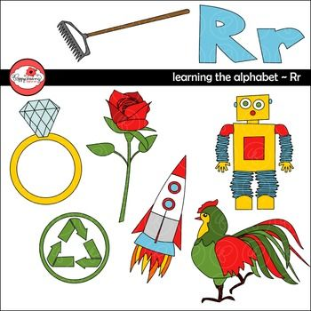 "Learning the Alphabet - The Letter R Clipart set includes fourteen (14) high quality, 300 dpi, png images with transparent backgrounds. Each image comes in full color and line art.Images include combination ""Rr,"" plus a rake, recycle sign, ring, robot, rocket, rooster and rose.Awesome for adding fun touches to worksheets, posters, games and so much more!Colors match perfectly with sets from my Class and Teaching Series.TERMS OF USE:Personal and limited commercial use."