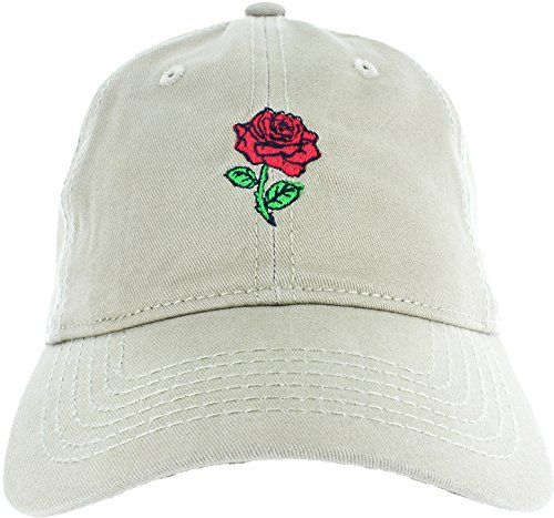 d9094b6f6cb Dad Hat Cap – Rose Embroidered Adjustable Khaki Baseball Cap QUALITY   Embroidered in