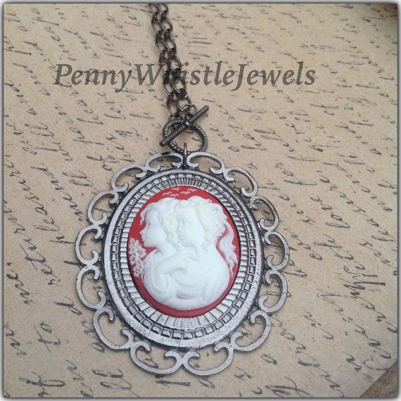 Sisters Cameo Necklace Mother Daughter Cameo by PennyWhistleJewels
