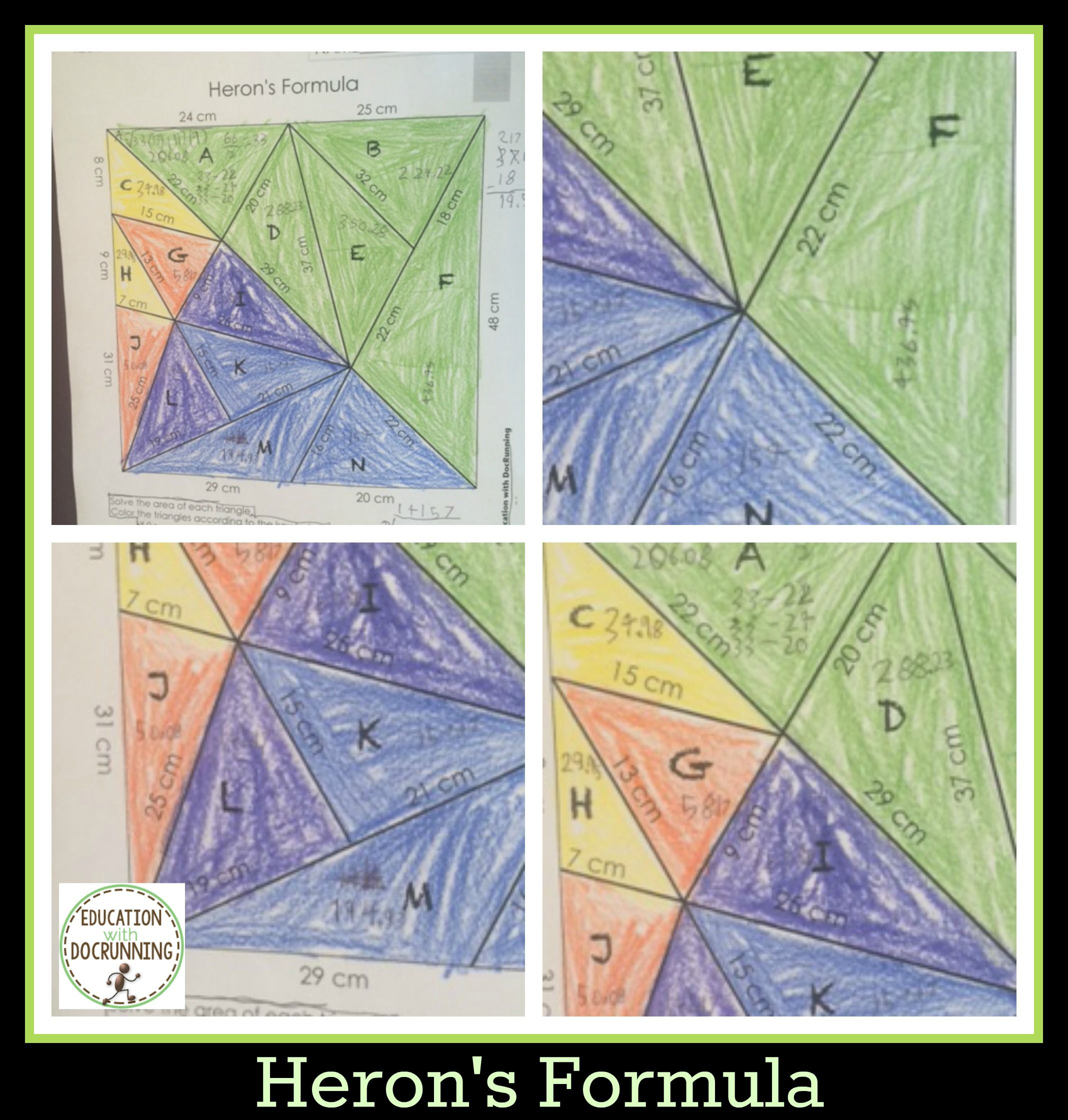 Trigonometric Functions Activity Herons Formula Color By