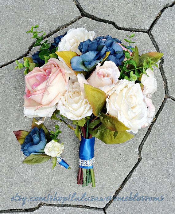 Gardenstyle Bridal Bouquet, pink and cream cabbage roses, accented with blue lisianthus (silks and Real Touch) by LulusAwesomeBlossoms, $130.00