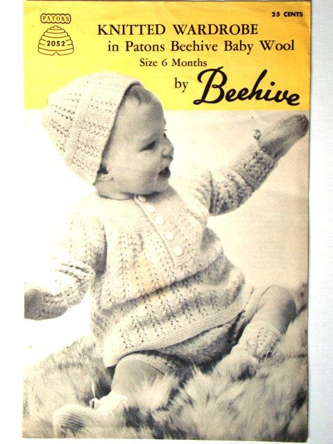 Vintage Knitted Wardrobe Pattern Patons Beehive No 2052 Layette ...