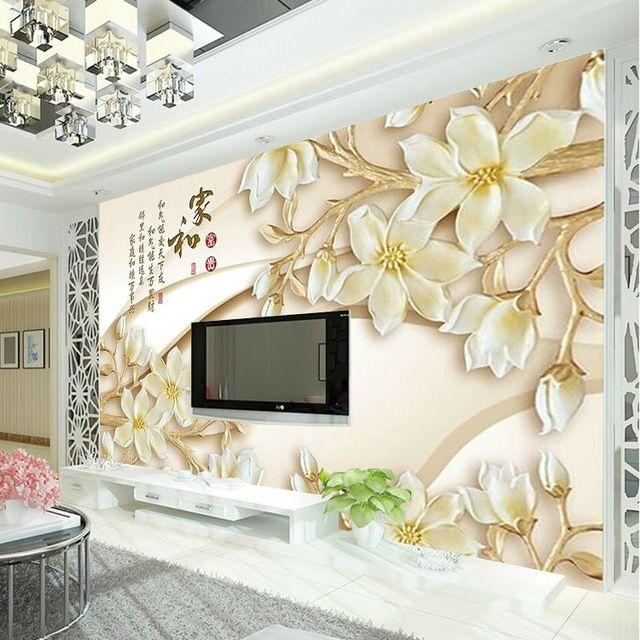 3D Custom Wallpaper Wood Carving Flower Wall Mural Luxury