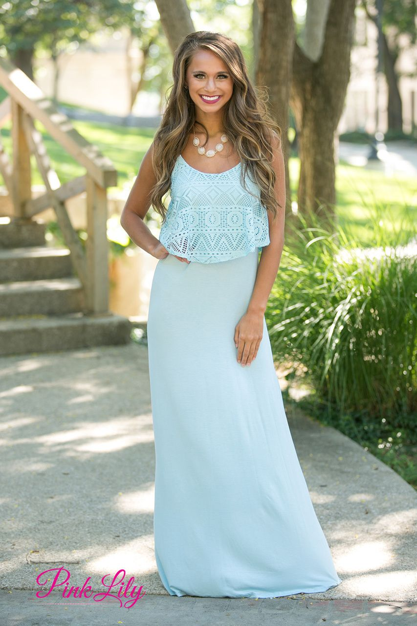 Lost With You Lace Maxi Dress Cornflower Blue - The Pink Lily