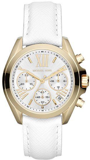 fe20a7f50ba0 Michael Kors Bradshaw Chronograph White Leather Strap MK2302 ...