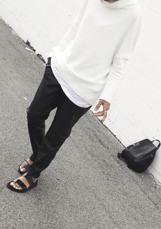 Classic with an edge. Love the white sweater? Top?