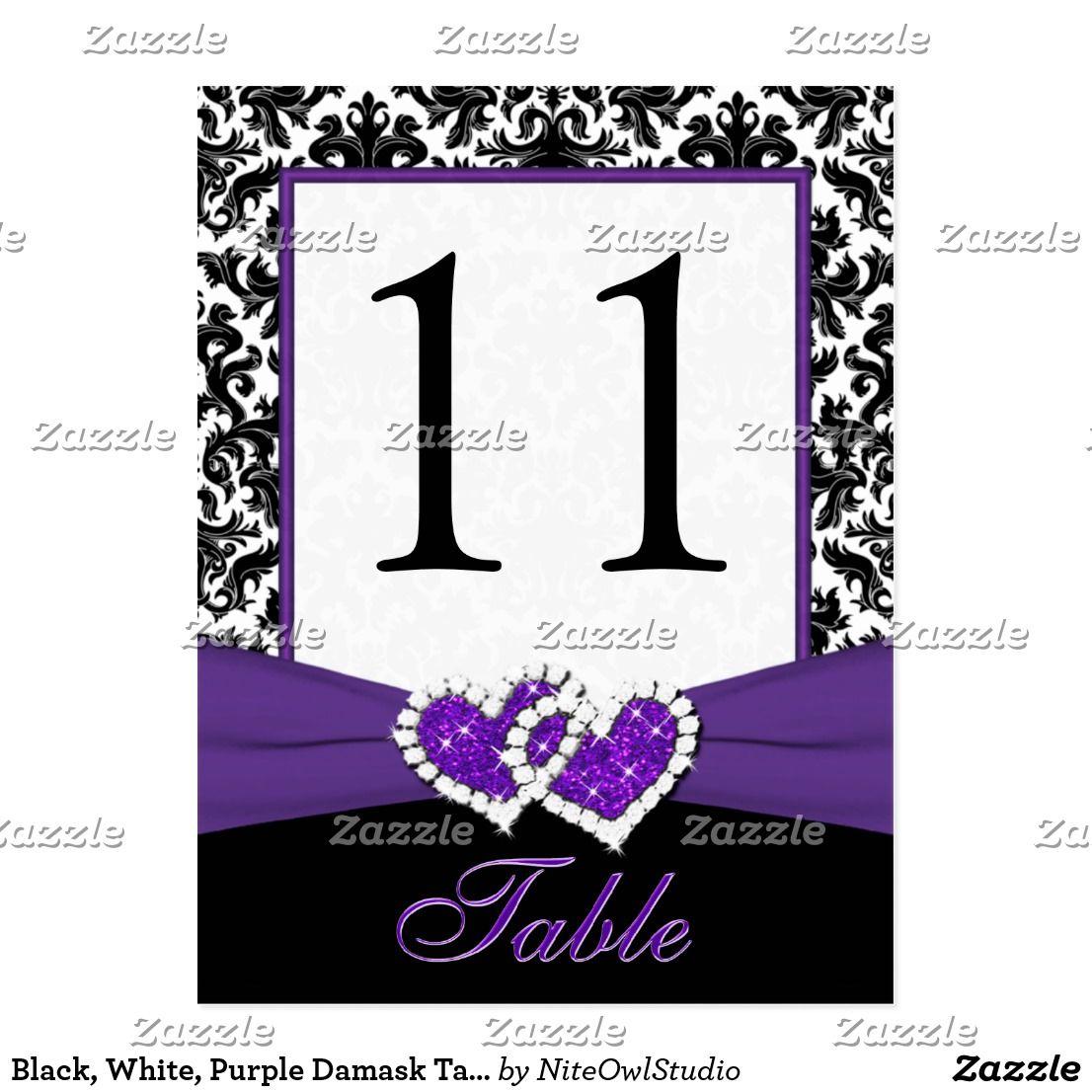 Black, White, Purple Damask Table Number Post Card | White damask ...