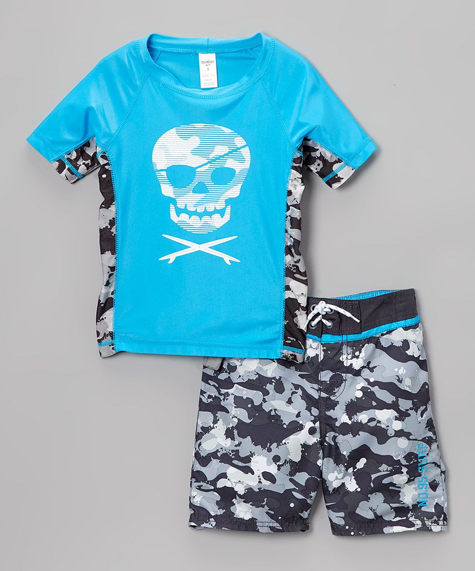 89d4cef0ccb7 Look what I found on  zulily! Blue Skull Rashguard   Swim Trunks ...