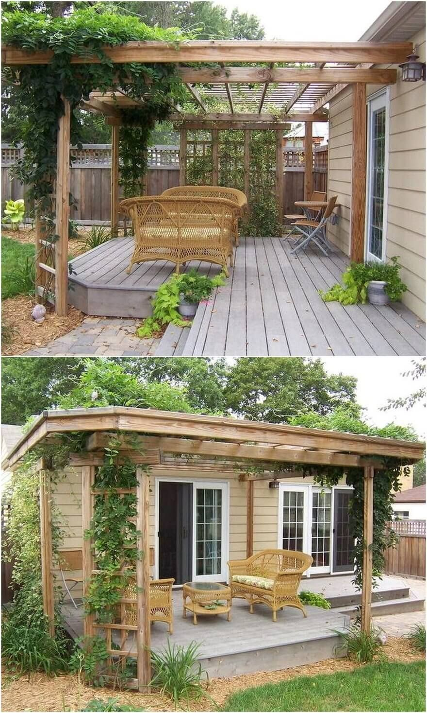A Breath Taking Setting Of The Patio Is Brought Closer To You With The Arrangement Of This Clear Line Deck Having Terrassenpergola Hintergarten Pergola Design Backyard deck ideas not attached to house