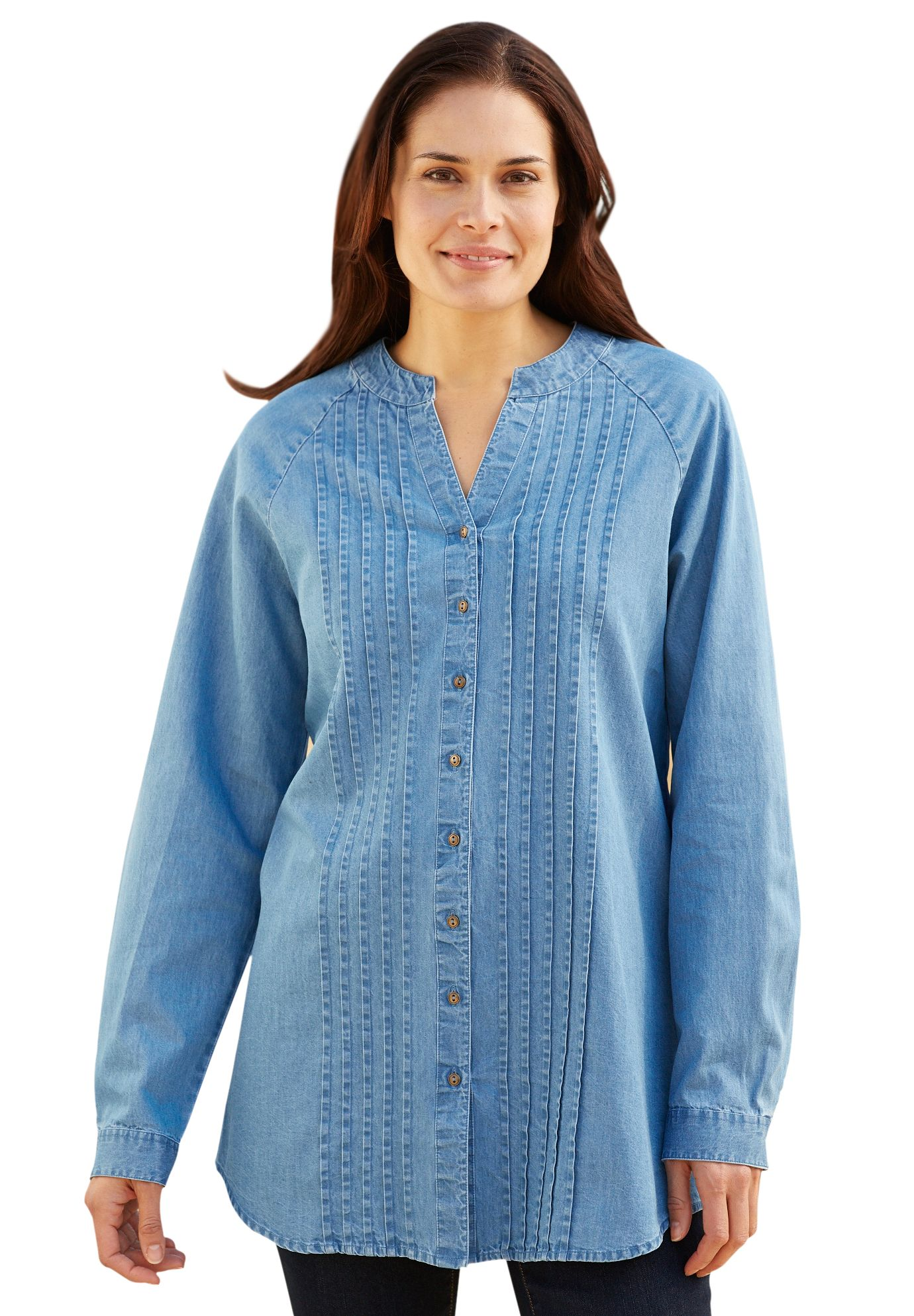 16868ed30be Shirt, tunic length, in soft denim with pintucks and pewter buttons | Plus  Size Long Sleeve | Woman Within