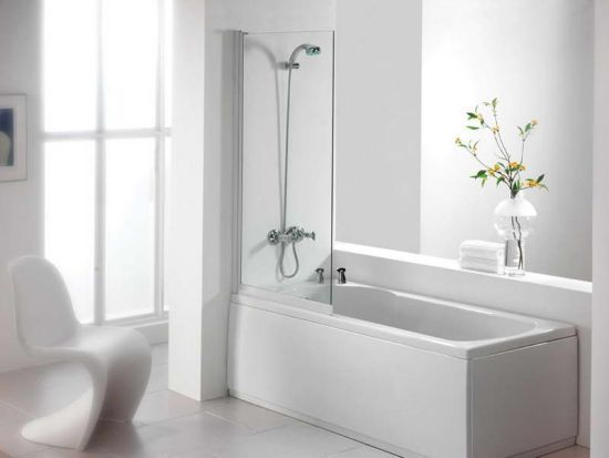 Compact Elegant White Tiled Bathtub And Shower Combo Love the ...