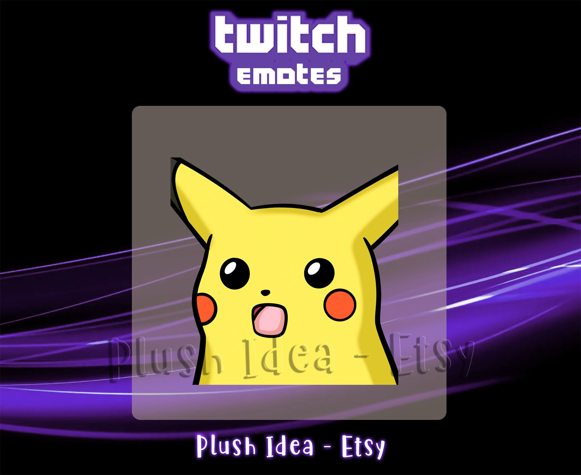 Wow Surprised Pikachu Meme Pokemon Twitch Sub Emote Etsy Nursery Animal Prints Pikachu Pokemon