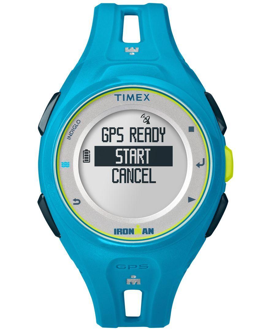 Timex Unisex Digital Ironman Run X20 Gps Blue Resin Strap Watch 43mm TW5K87600F5