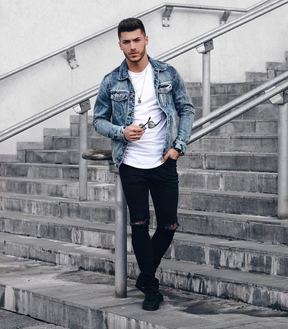 Style Guide How To Wear A Denim Jacket In Fall Denim Outfit Men Denim Jacket Men Mens Outfits [ 1121 x 980 Pixel ]