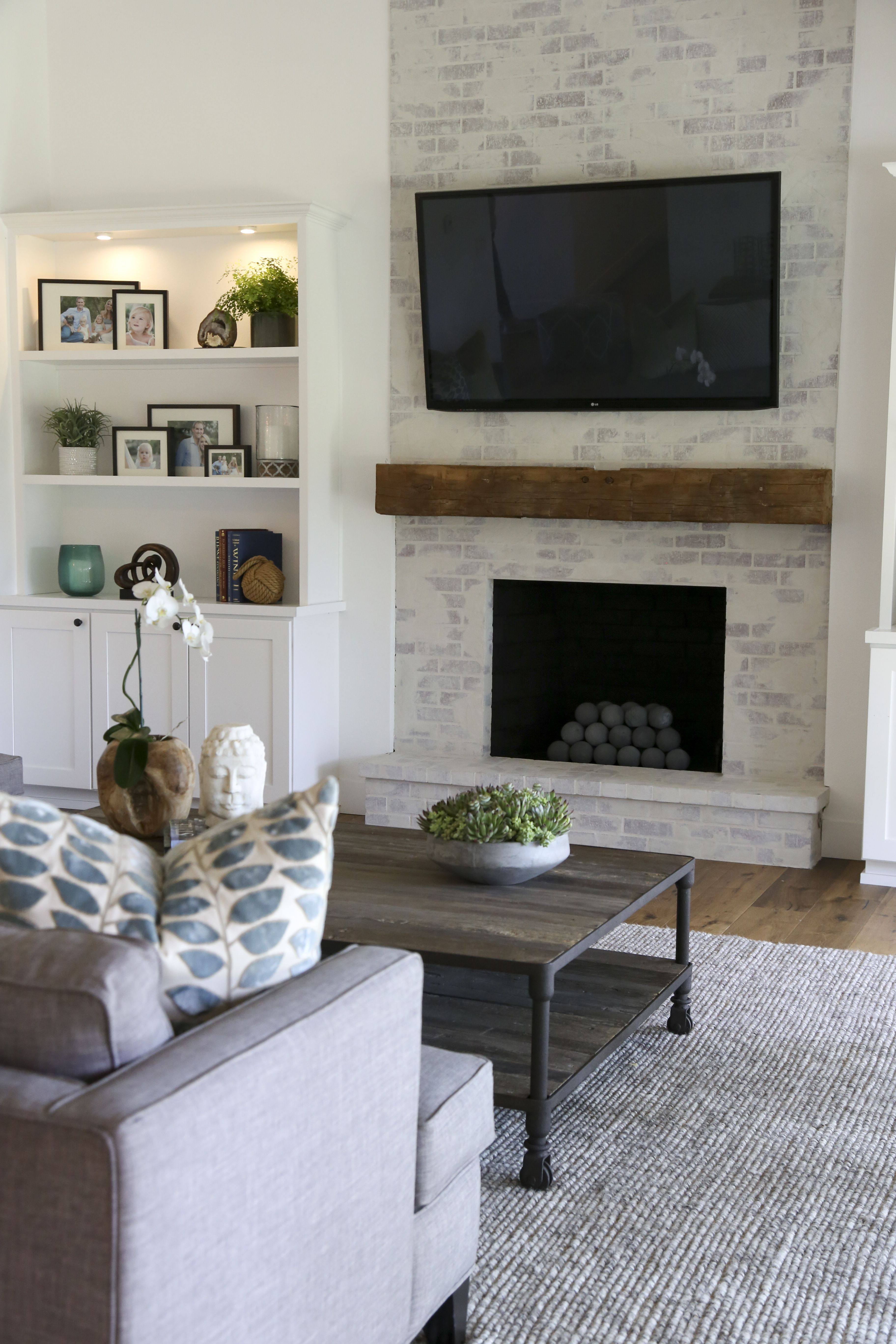 Living Room With Fireplace Design Ideas: Contemporary Farmhouse! Brick Fireplace! Www