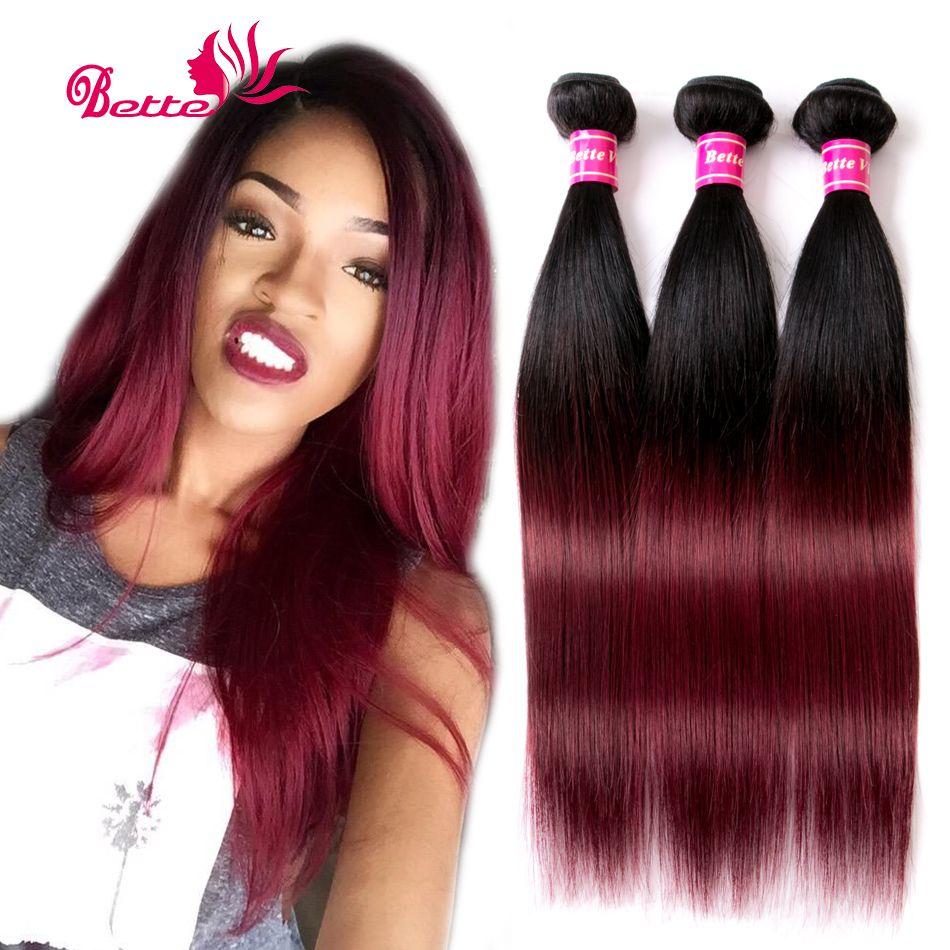 أومبير البرازيلي مستقيم عذراء الشعر 3 حزمة صفقات طبقتان الإنسان نسج الشعر 1b 99j بورجوندي النبيذ الأحمر أومبير Weave Hairstyles Human Hair Straight Human Hair