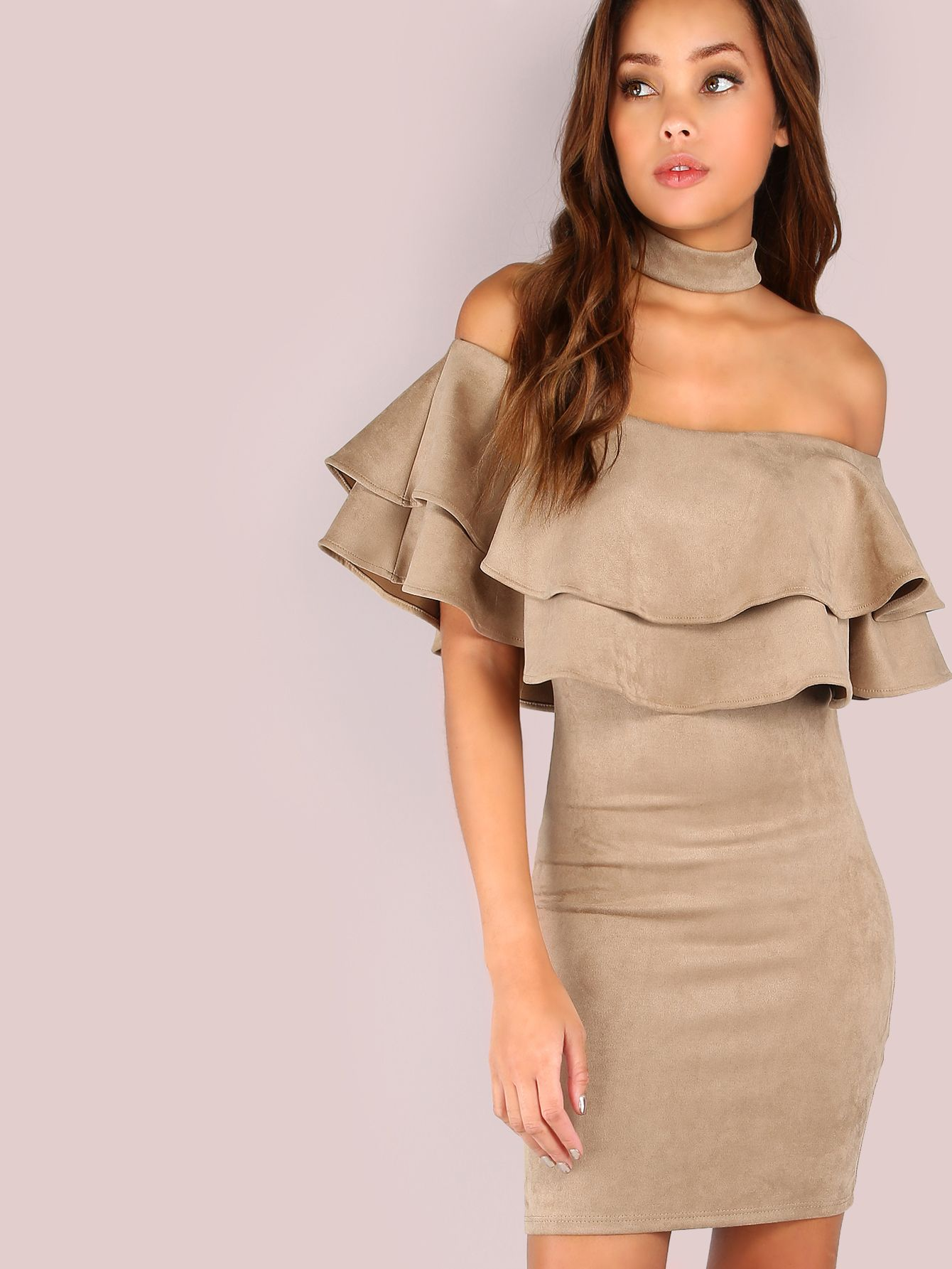 7d5295b8347da3 Shop Ruffle Suede Choker Dress TAUPE online. SheIn offers Ruffle Suede  Choker Dress TAUPE   more to fit your fashionable needs.