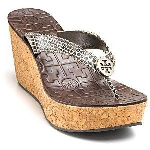 d3cfb751c8933 Tory Burch Thora Wedge Snake Skin Thong Sandal Cork Reva