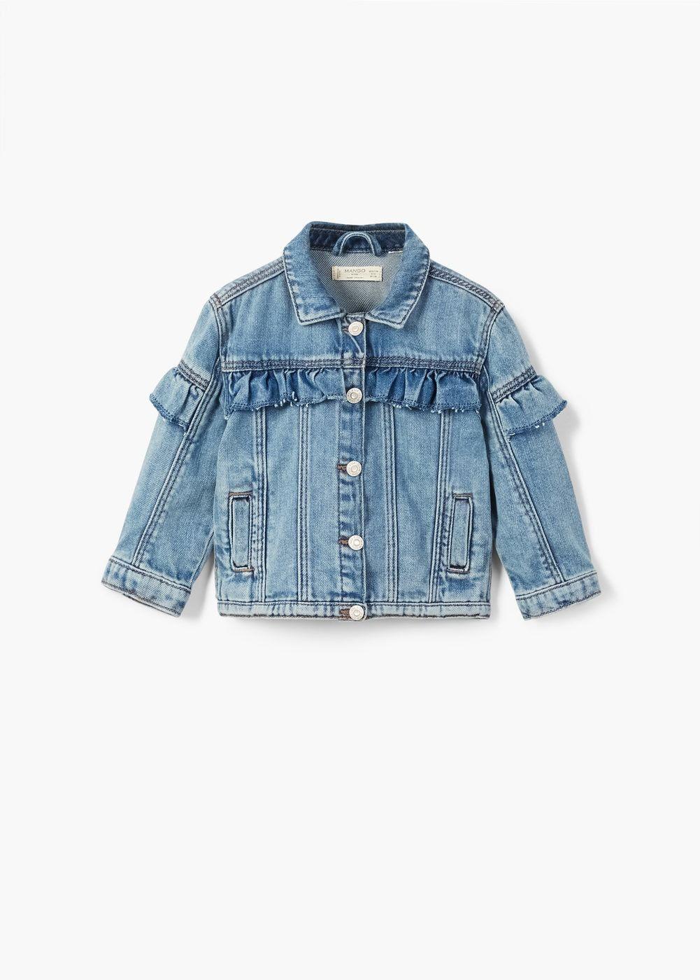 Cazadora Denim Volantes Nina Mango Kids Espana Kids Denim Jacket Baby Denim Jacket Girls Denim Jacket [ 1400 x 1001 Pixel ]