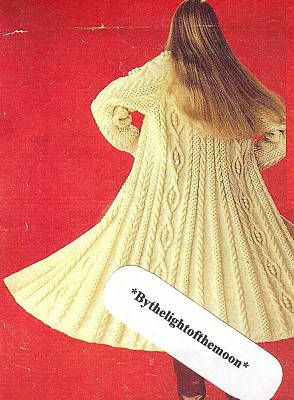 Vintage Knitting Pattern Ext. Fabulous Swing Aran Coat
