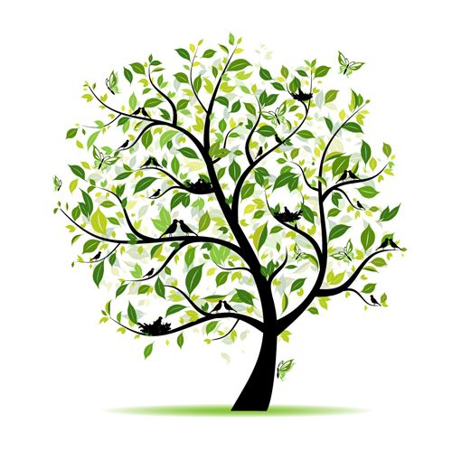 Different Spring tree elements vector 05 - Vector Plant free ...