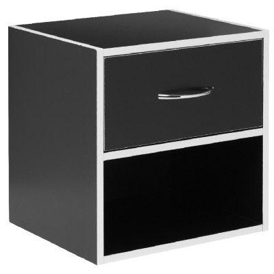meuble cube 2 niveaux avec 1 tiroir coloris noir avec contour blanc empilable