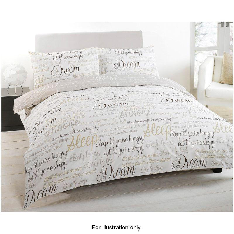 Script Luxury Double Duvet Set Material 50 Cotton Polyester Includes
