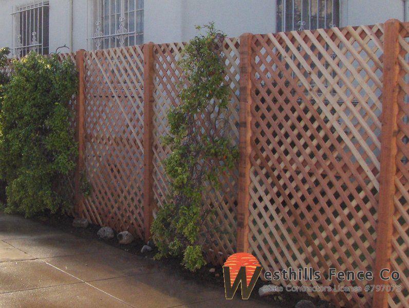 Redwood Diamond Lattice Fence Lattice Fence Backyard Fences Modern Fence